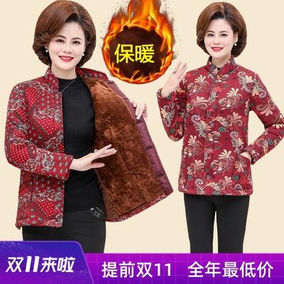 中年妈妈冬装厚棉衣2019新款中老年女装驼绒棉服外套短款花色棉袄