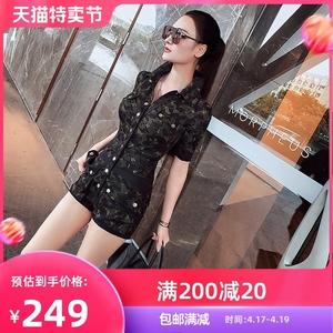 型色缤纷时尚女装迷彩工装连体衣女夏季气质修身显瘦洋气连体短裤