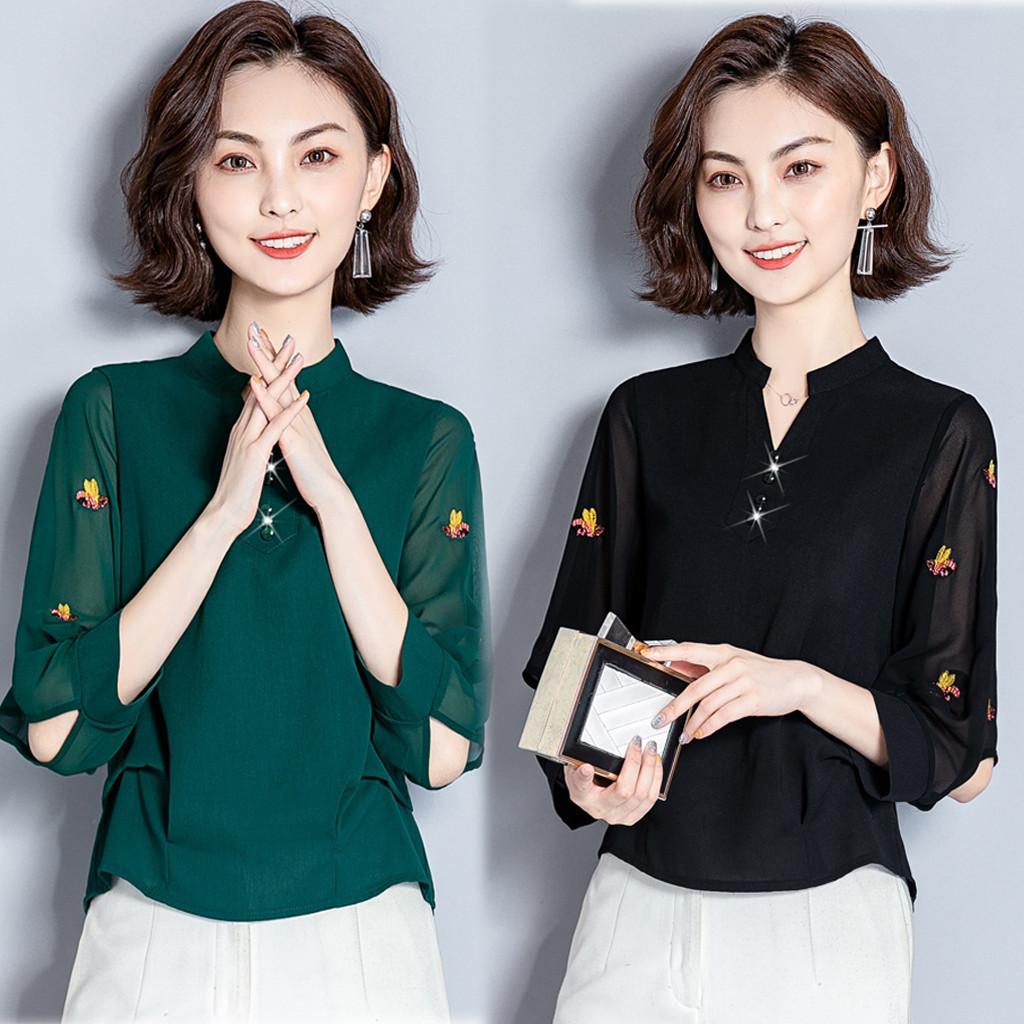 (用1元券)长袖女洋气小衫2019新款秋装雪纺衫