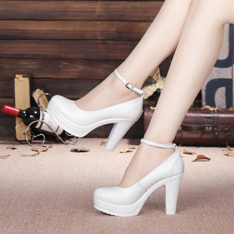 模特走秀高跟鞋女旗袍t台演出白色防水台粗跟真皮圆头单鞋大小码