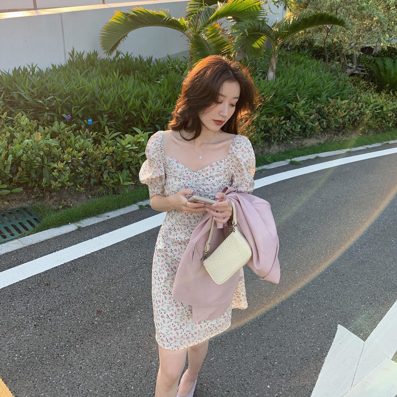 小宜定制 碎花连衣裙女夏新款2020名媛桔梗裙初恋裙显瘦森系短裙