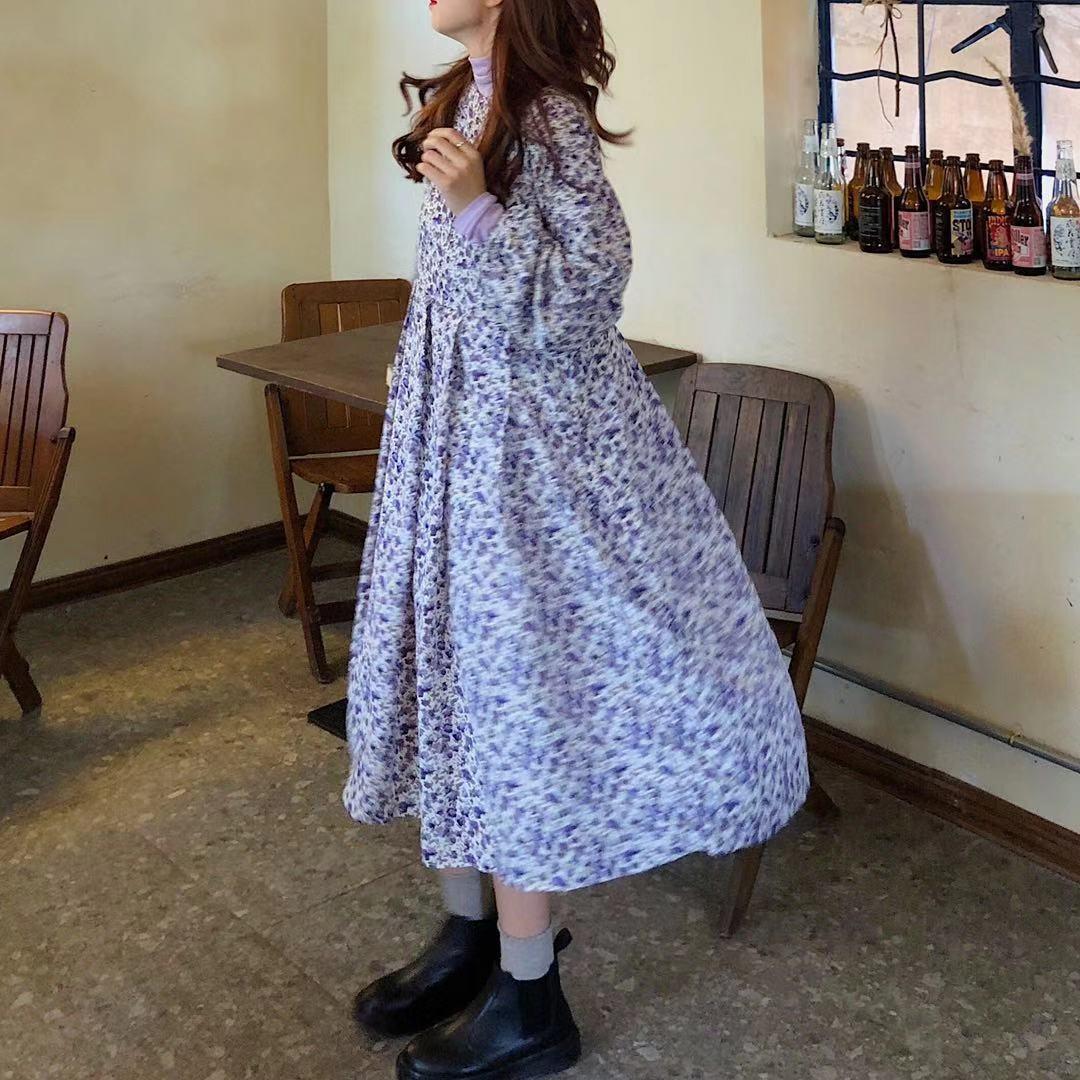實拍實價~元氣少女浪漫薰衣草碎花系帶連衣裙+香芋紫高領打底衫