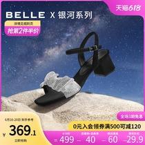 百丽仙女高跟凉鞋2021新款商场同款粗跟一字带平底拖鞋B0357BL1预