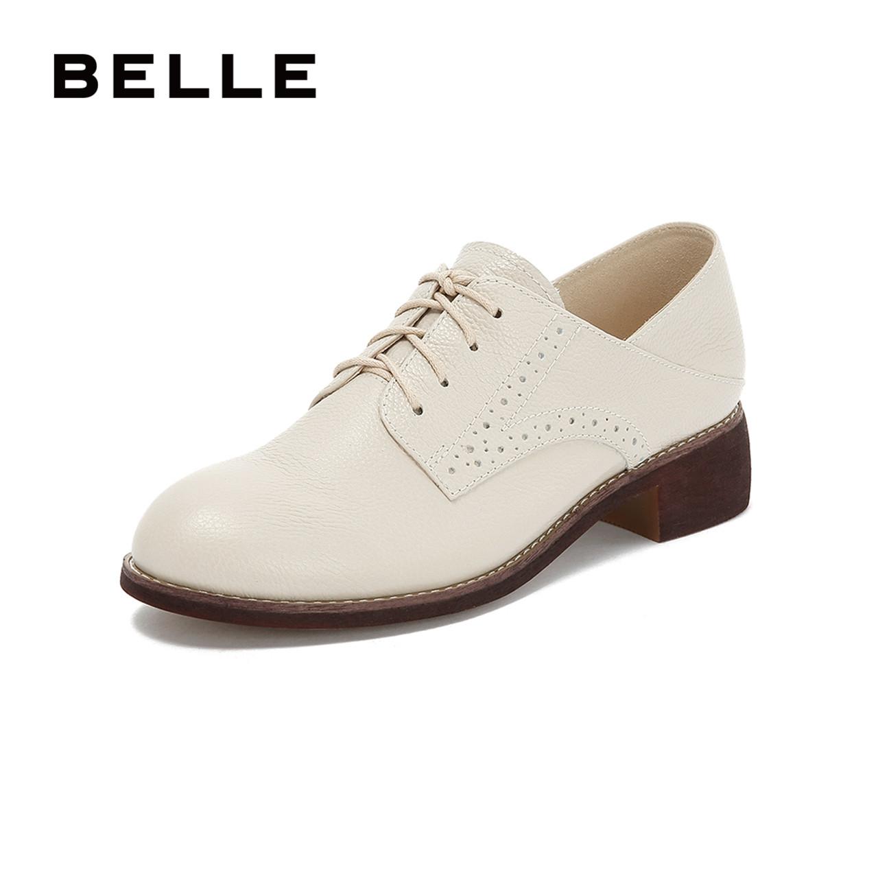 百丽商场同款英伦风牛皮中跟ban23女单鞋