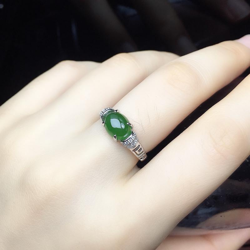 天然和田碧玉戒指S925纯银女款绿宝石活口玉指环日韩时尚生日礼物