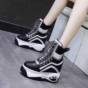 冬季新款10cm小个子内增高厚底松糕运动鞋高帮加绒保暖雪地靴黑色