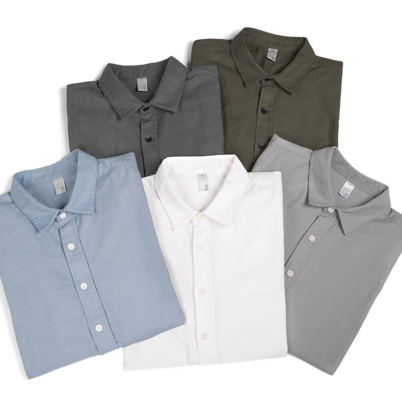 [白术自制]多色棉布休闲纯色基础内搭长袖衬衫男女同款