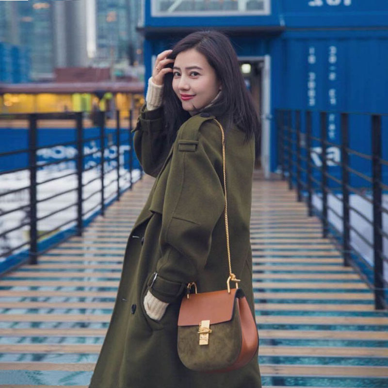 Autumn and winter 2019 GaoYuanYuan the same type of pure manual double-sided cashmere coat for womens high-end medium length woolen coat is loose