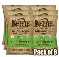 Kettle Brand Potato Chips, Krinkle Cut Dill Pickle, 2 Ounce