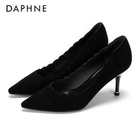 Daphne/达芙妮新款荷叶边羊皮 尖头浅口细跟高跟单鞋女1017404035图片
