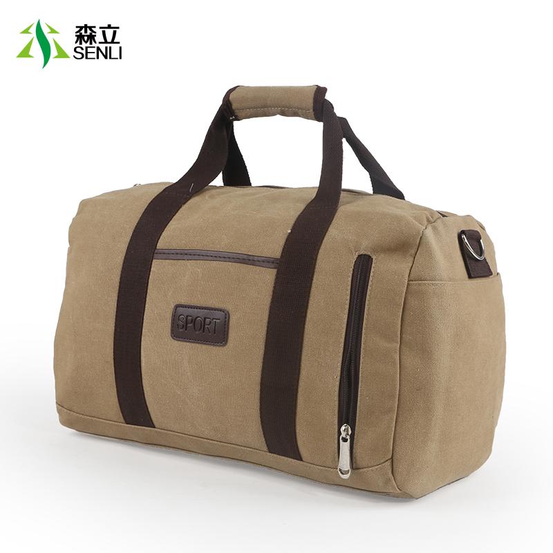 輕便帆布包男手提旅行包女大容量行李包短途旅行袋旅遊健身包