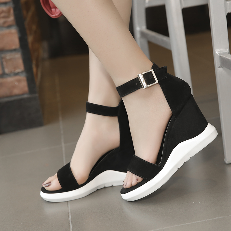 Sandals slope heel womens summer 2020 new versatile thick sole leather cow skin black high heel open toe womens shoes Europe and America