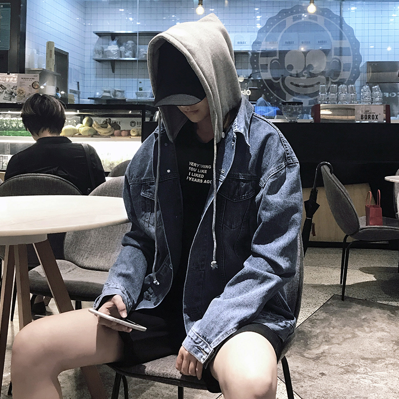 Autumn and winter Korean mens hooded jeans jacket