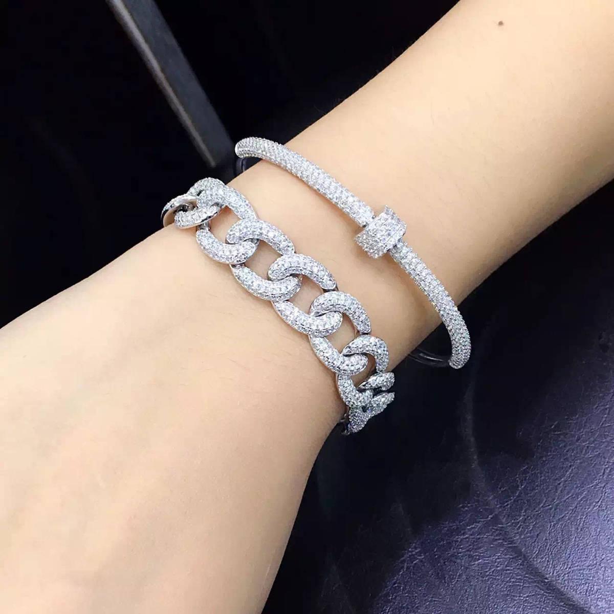 Enron silver Korean whole body 925 silver micro inlaid diamond chain bracelet Rose Gold Bracelet