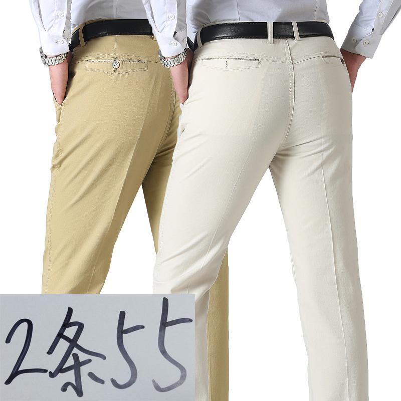 夏季中年短裤男士薄款中裤中老年宽松免烫西装长裤子爸爸休闲裤男55.00元包邮