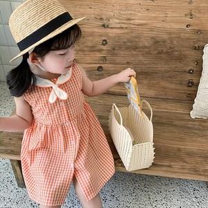 1-6岁女童夏季连衣裙洋气网红3女宝宝背心裙海军风格子公主裙纯棉
