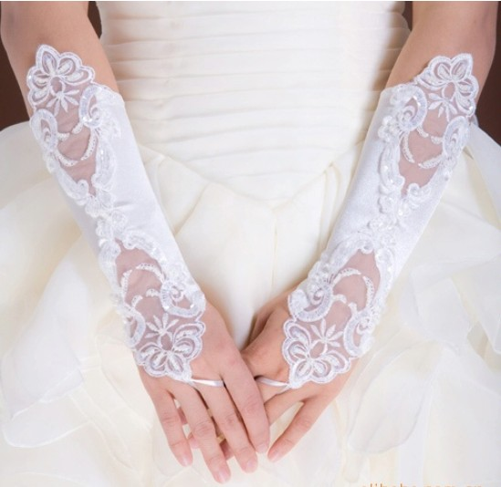 New long white girls gloves childrens wedding dress accessories gloves Fingerless Lace Beaded hand sleeves