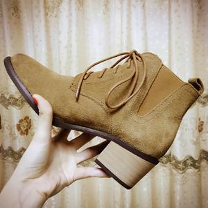 真皮棕色加绒短靴女春秋单靴高跟粗跟系带尖头马丁靴英伦风34冬季