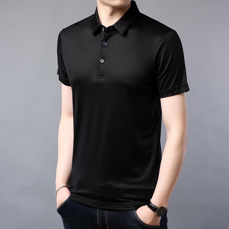 2020 summer mens new Lapel solid color mulberry silk base shirt business casual mens silk short sleeve T-shirt