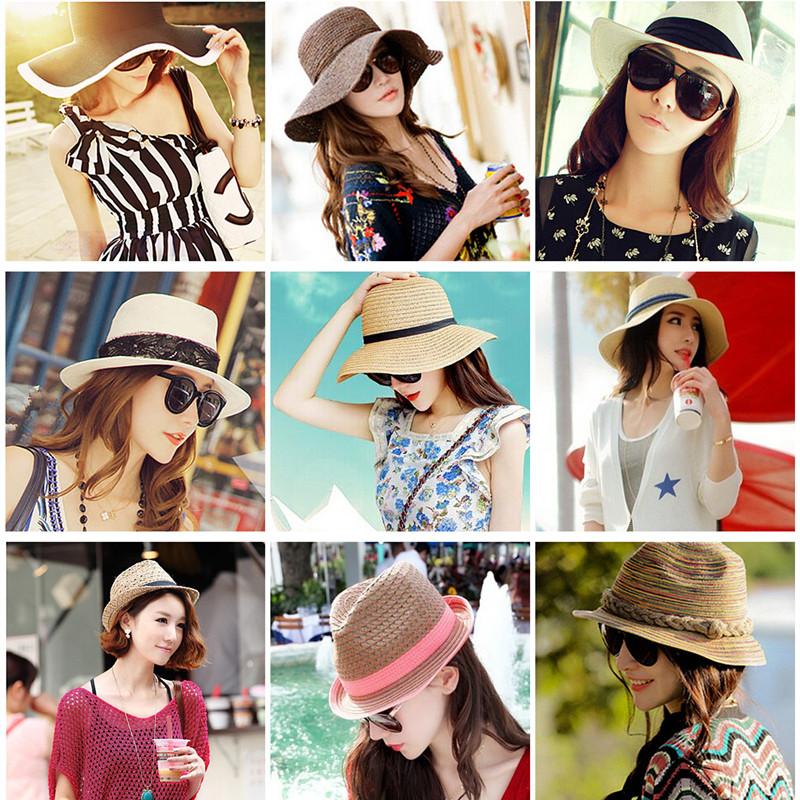 包郵大檐沿草帽子女夏天韓版潮沙灘帽遮陽帽防曬防紫外線太陽帽子