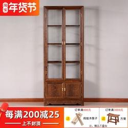 红木家具 鸡翅木玄关柜酒柜 四层玻璃门双门仿古中式实木展示柜