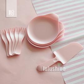小清新风格主题 塑料 一次性水滴餐盘刀叉勺 甜品餐具 5人份图片