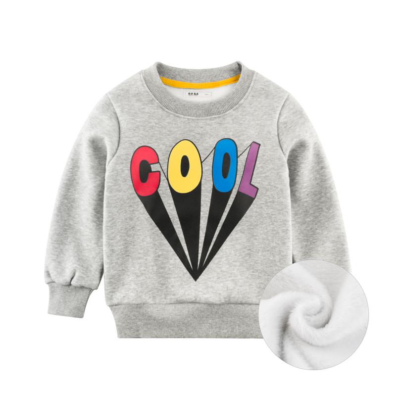 韩版童装秋冬季新款男童卫衣加绒洋气女宝宝上衣服装不倒绒套头衫