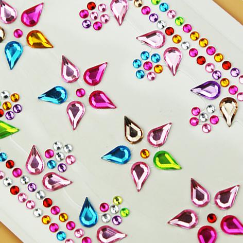 儿童水钻石贴画粘贴装饰水晶亚克力汽车手机玩具珍珠贴纸6张包邮