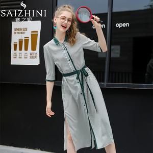 夏季2020新款过膝长款雪纺衬衣时尚条纹Polo衬衫连衣裙收腰中长款