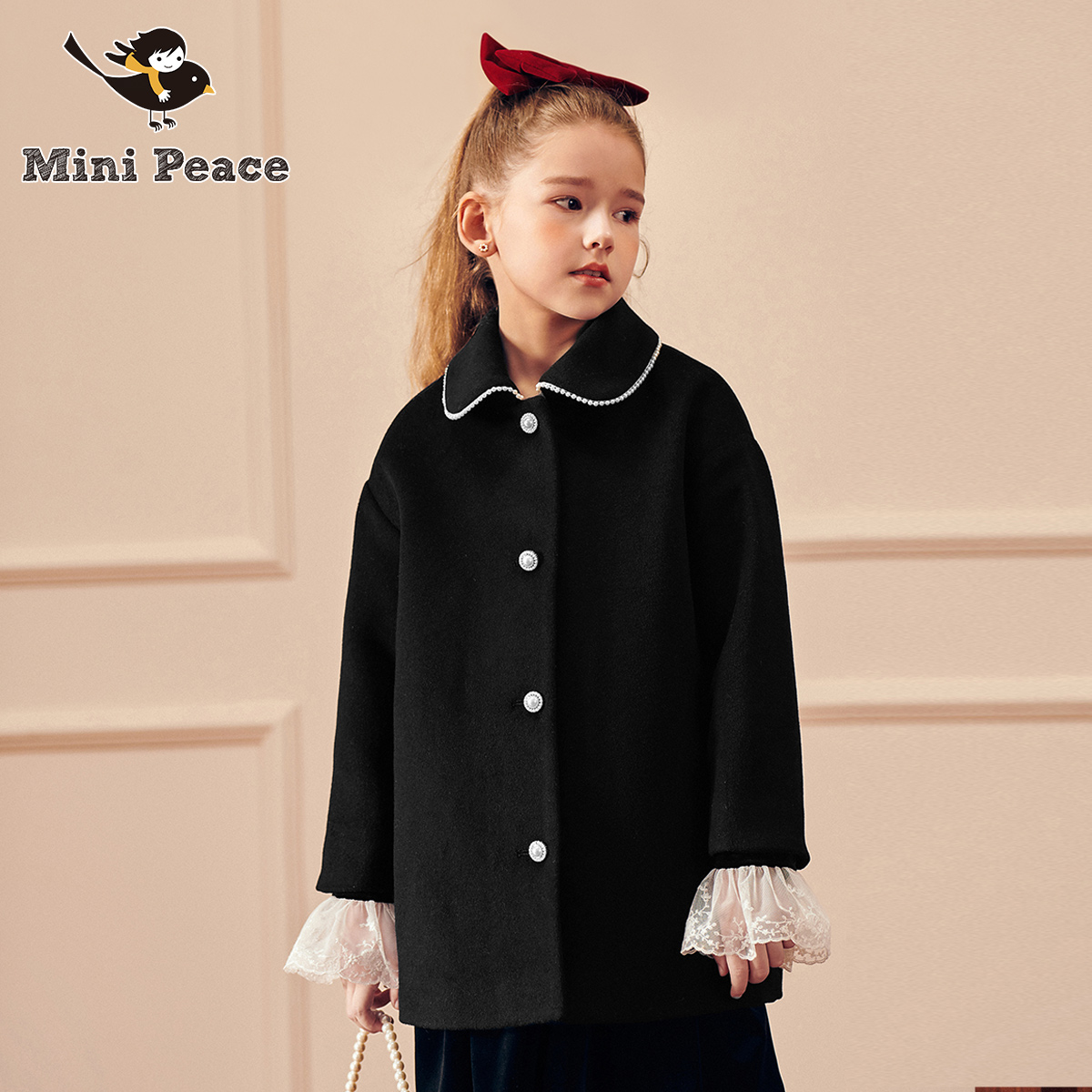 minipeace Peacebird children's clothing girls coat mid-length college style foreign style children's coat autumn and winter new