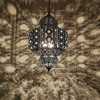 Moroccan characteristic exotic retro bedroom Xinjiang restaurant hotel bed and breakfast bar clubhouse hollow carved chandelier