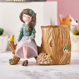 可爱儿童笔筒创意时尚韩国小清新多功能桌面摆件少女心笔筒收纳盒图片