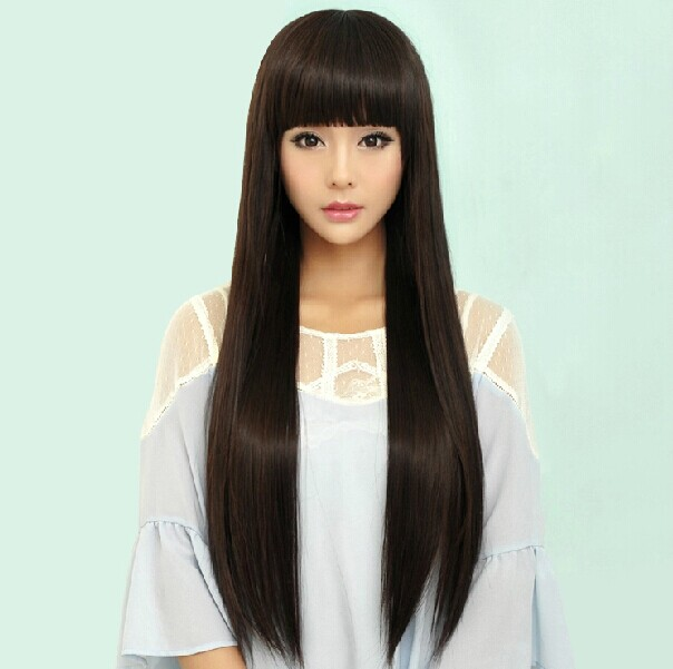 New style wig womens full head set bangs long hair straight hair Qi Banghai long straight hair medium length ol fashion