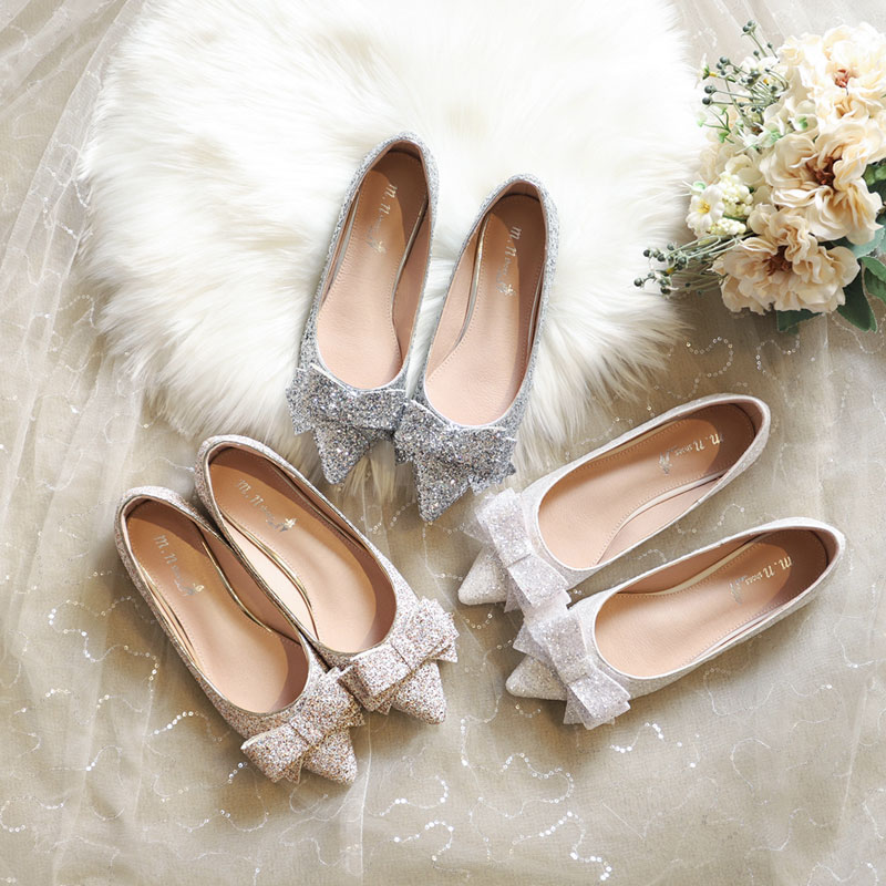 Wedding shoes women 2020 new Bridesmaid FLAT SHOES BRIDAL SHOES wedding shoes silver flat sole womens single shoes bow champagne