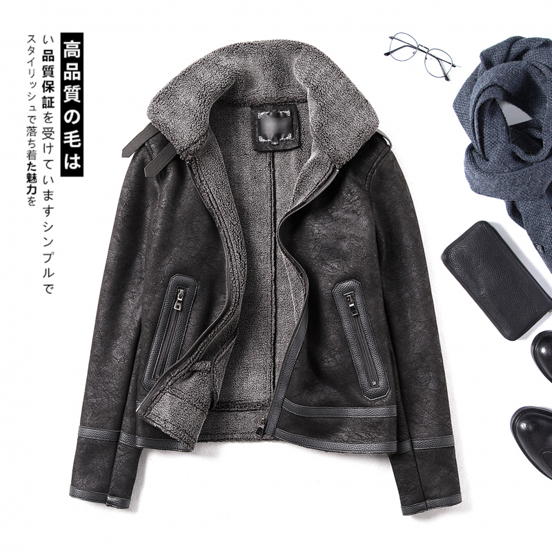 Winter lamb wool coat mens slim suede Plush thickened fur Motorcycle Jacket Large cotton man