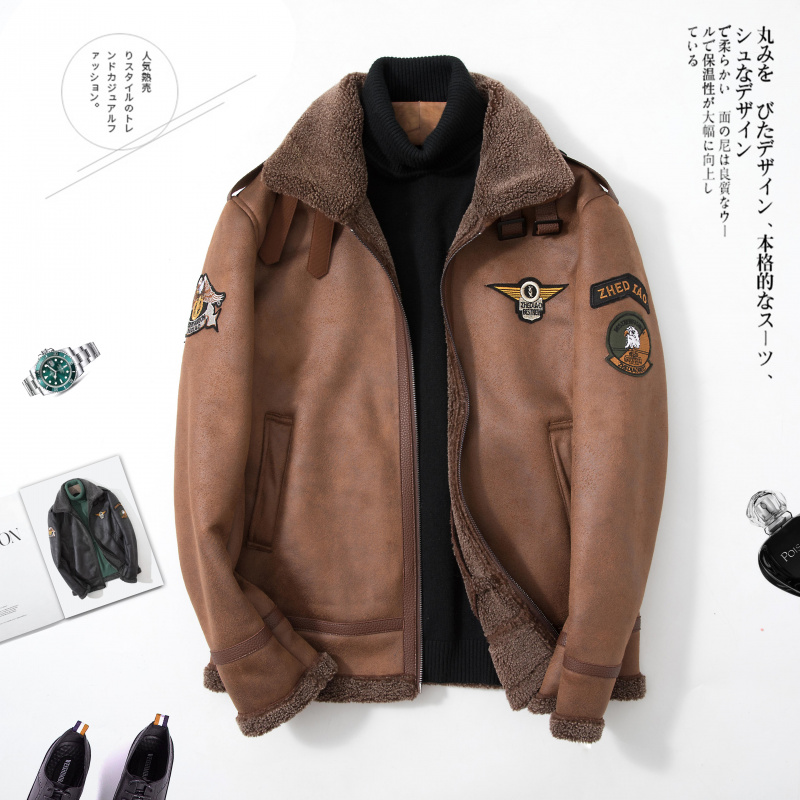 Winter jacket mens coat plush suede lambskin fur all in one locomotive leather coat large flying suit