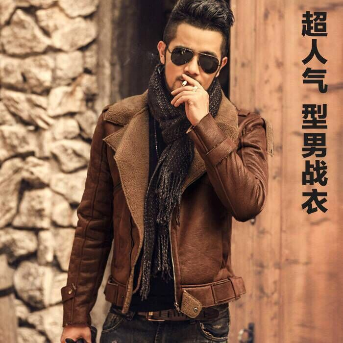 Leather jacket mens slim fit fur one piece large motorcycle leather coat winter 2019 short plush thickened youth coat