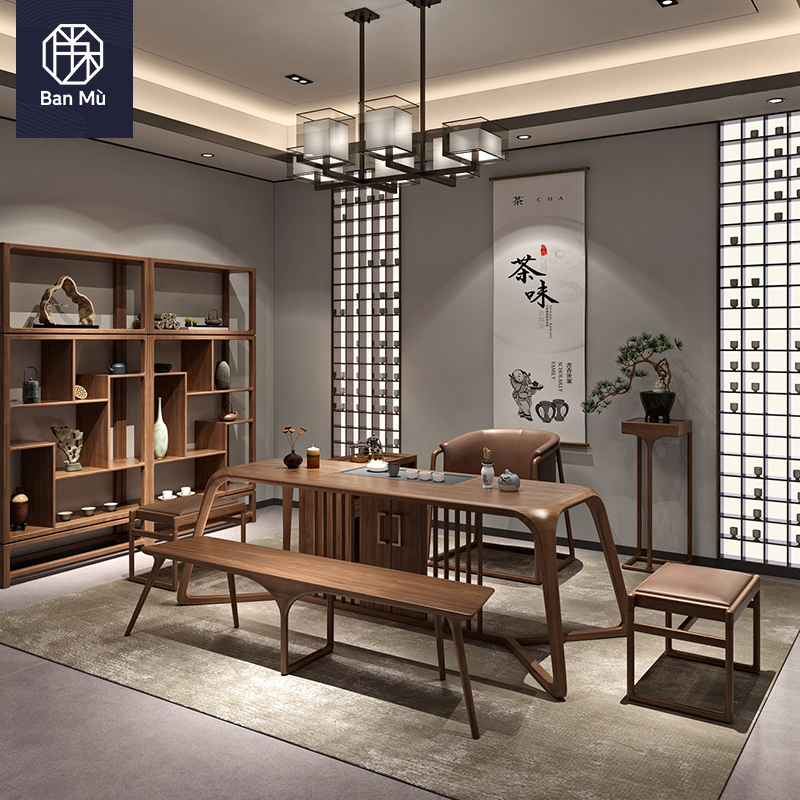 New Chinese tea table and chair combination all solid wood Zen tea room furniture black walnut customized 1.8 m tea table