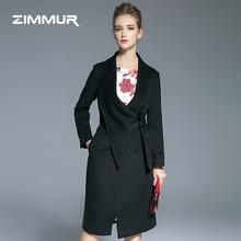 优雅知性黑色羊毛呢外套冬季 厚呢子大衣 ZIMMUR女装 围巾领系带修身