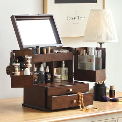 化妆品收纳盒中古风首饰一体桌面置物架首饰护肤品口红妆台化妆箱
