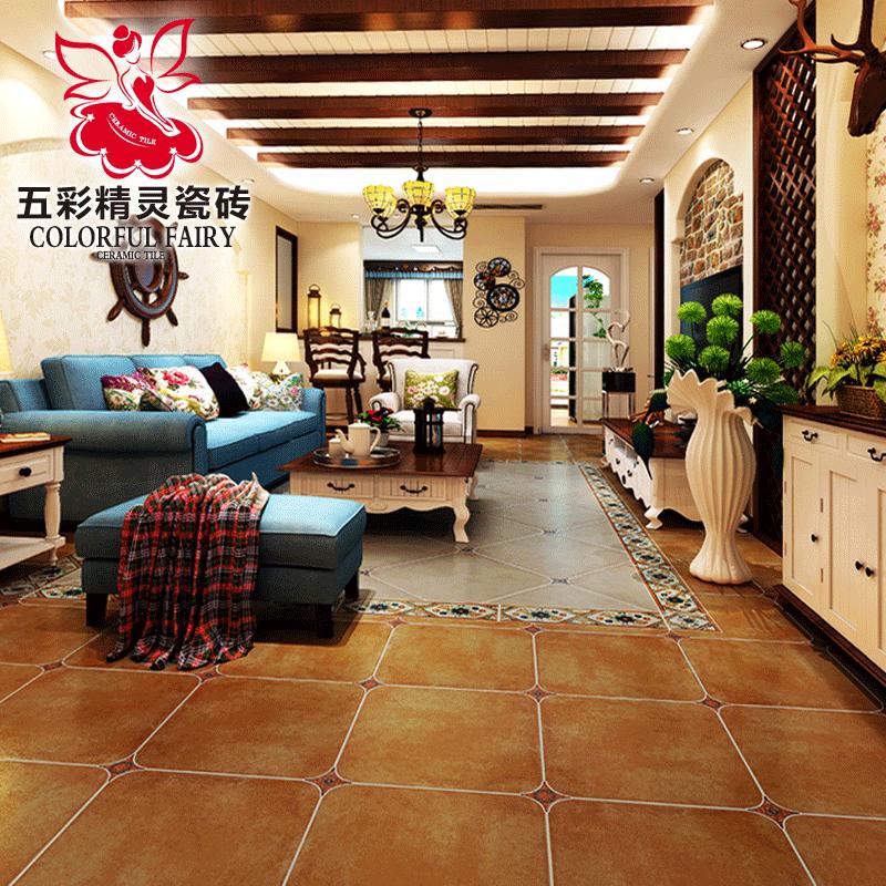 五彩精灵瓷砖毕莎罗仿古砖地板砖防滑阳台客厅地砖复古美式地中海