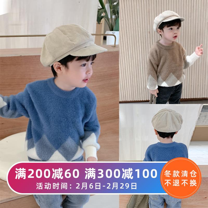 棉小班童装儿童冬装毛衣韩版宝宝圆领套头上衣男童水貂绒针织衫潮