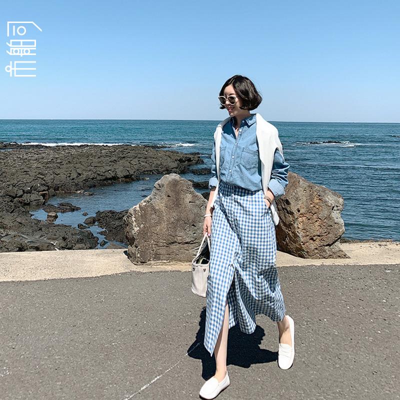 市舶司格子控bi入 韩国女装夏秋新款高腰开叉中长款半身裙