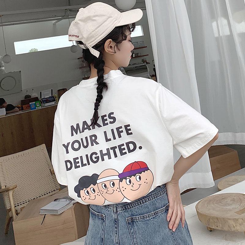 8084#实拍纯棉短袖女T恤2019春夏季新款时尚港风原宿韩版上衣女