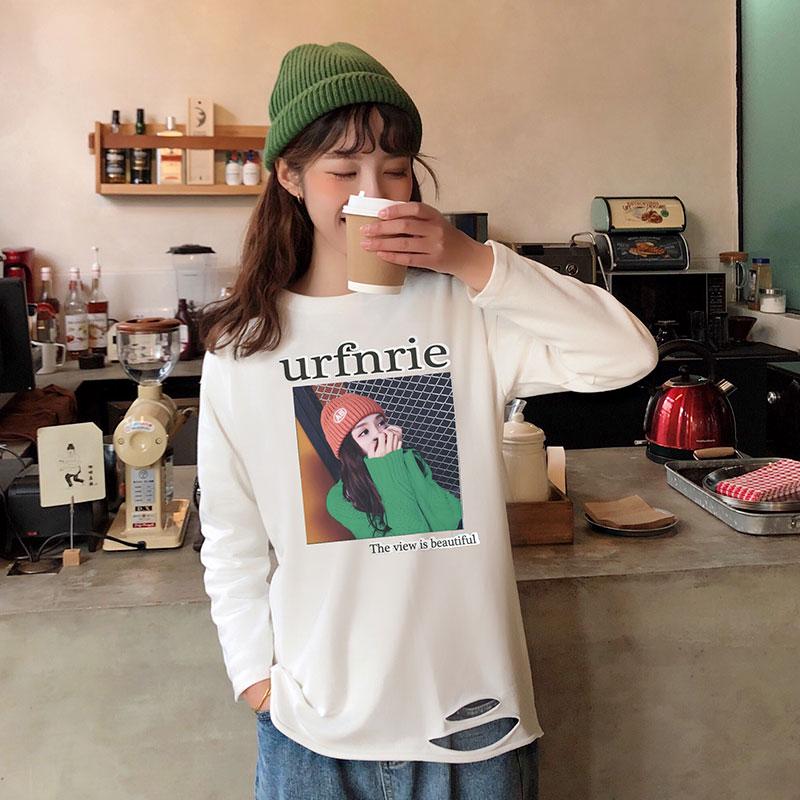 7260#180克双磨实拍2019春夏季时尚宽松韩版长袖衫新款