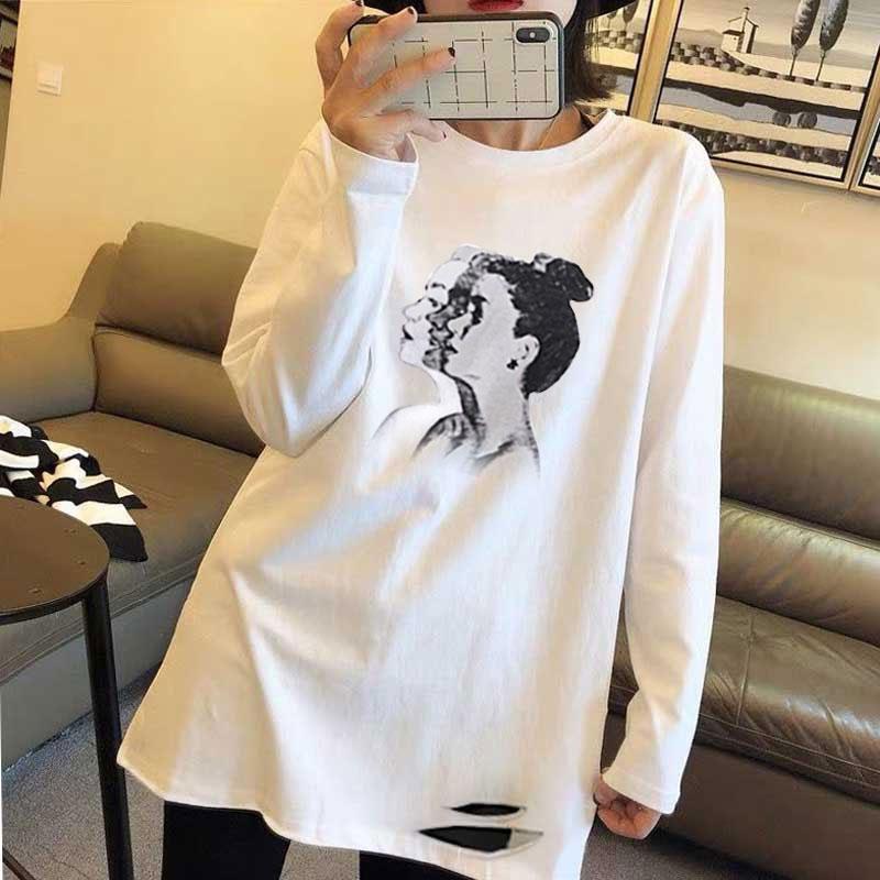4012#官圖白色純棉上衣女韓版卡通印花2020春夏新款長袖破洞上衣