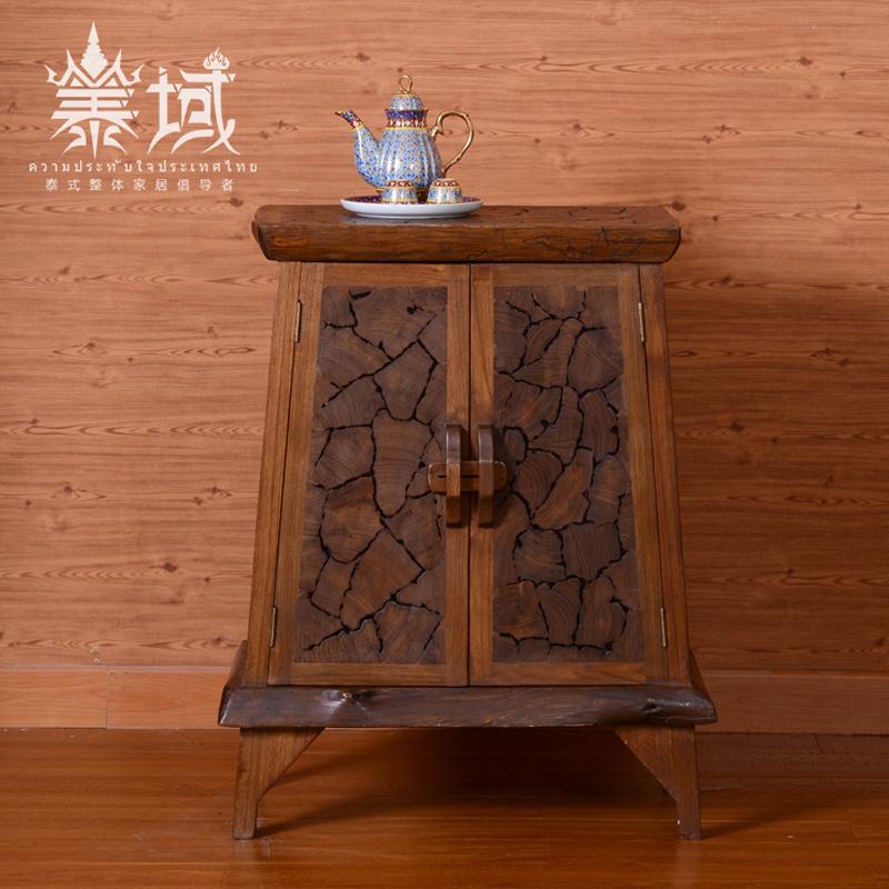 泰域 东南亚风格实木角柜 泰国进口实木家具  柚木客厅装饰玄关柜