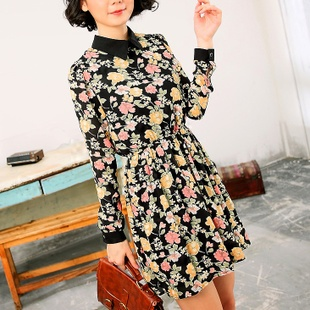 2016 spring new OL sweet temperament wild floral chiffon skirt long sleeved dress Korean Women skirt