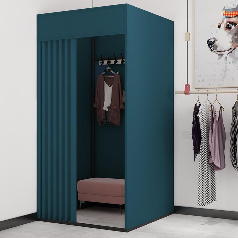买三送一服装店可移动试衣间门帘商场简易更衣室轨道活动换衣间落地展示架
