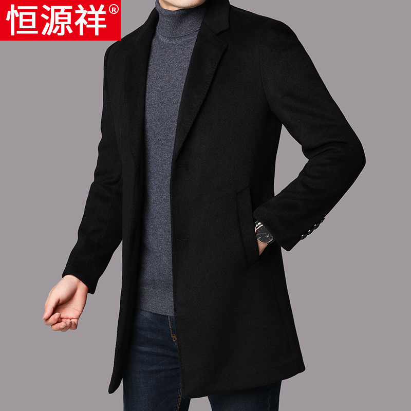 Hengyuanxiang men's wool woolen coat medium length woolen coat men's youth Korean fashion spring and autumn windbreaker